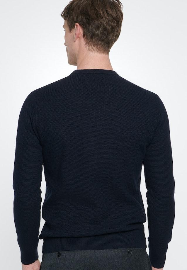 Rundhals Pullover aus Baumwollmischung in Dunkelblau |  Seidensticker Onlineshop