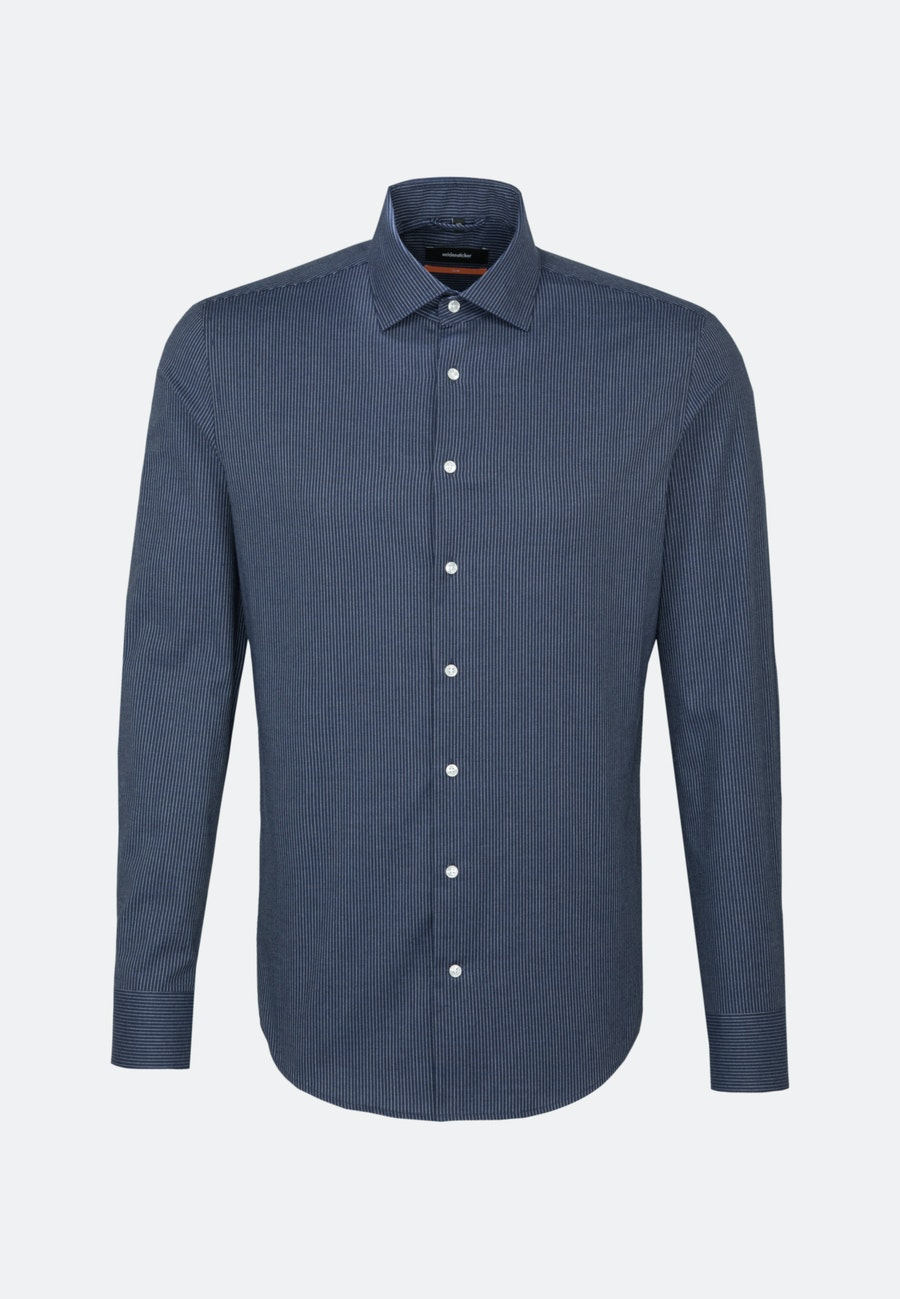 Bügelleichtes Twill Business Hemd in Slim mit Kentkragen in Dunkelblau    Seidensticker Onlineshop