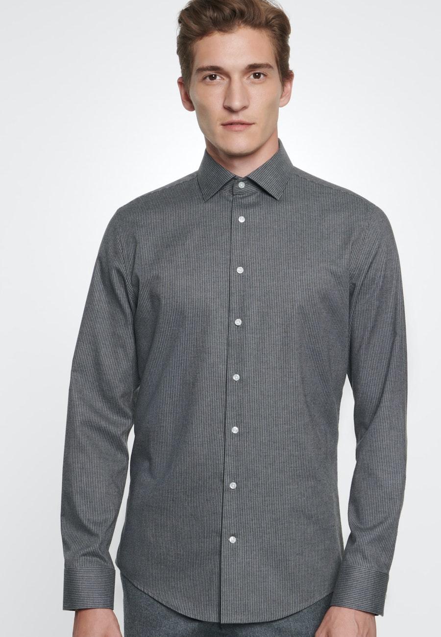 Bügelleichtes Twill Business Hemd in Slim mit Kentkragen in Grau |  Seidensticker Onlineshop