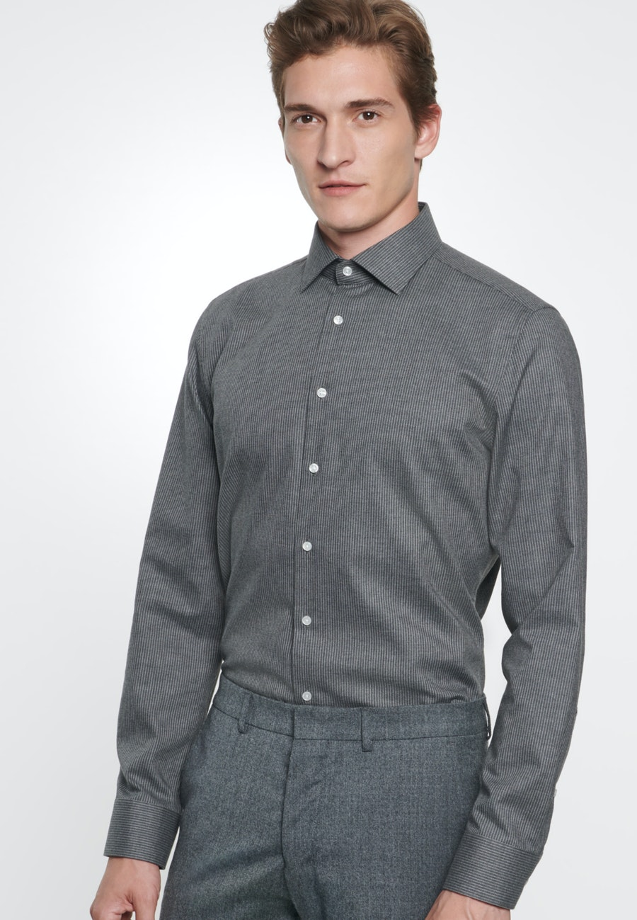 Easy-iron Twill Business Shirt in Slim with Kent-Collar in Grey |  Seidensticker Onlineshop
