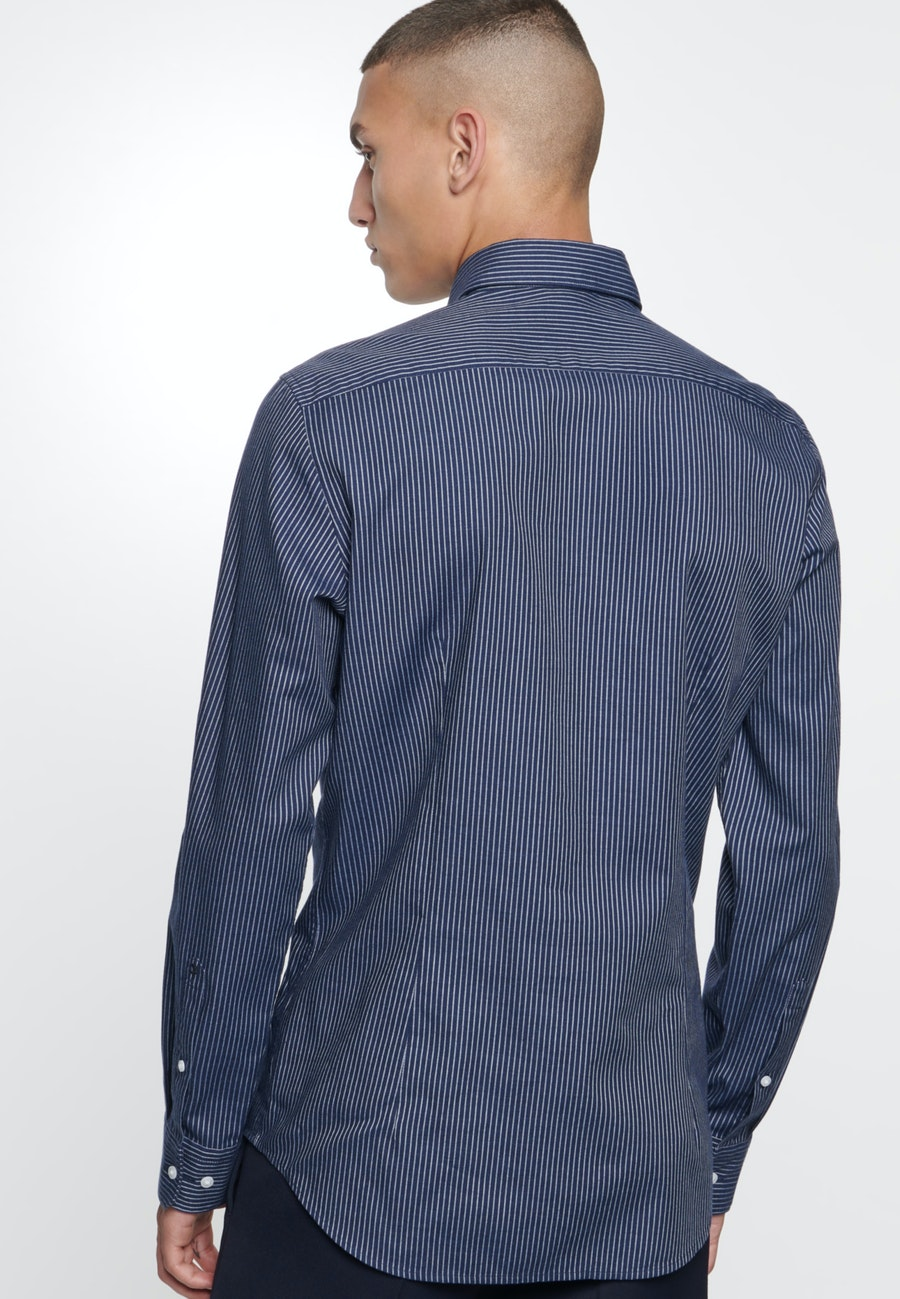 Easy-iron Twill Business Shirt in Slim with Kent-Collar in Dark blue |  Seidensticker Onlineshop