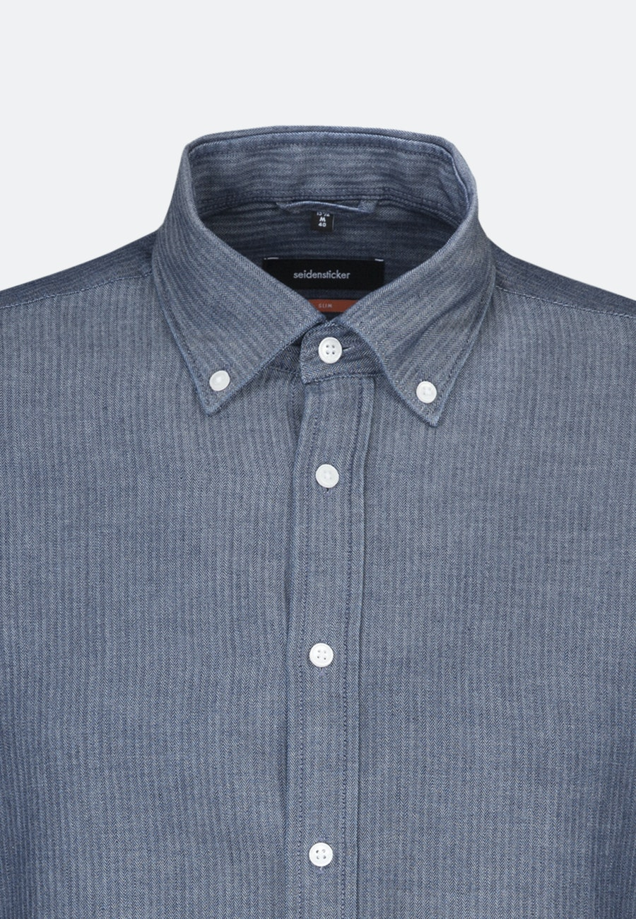 Easy-iron Herringbone pattern Business Shirt in Slim with Button-Down-Collar in Dark blue |  Seidensticker Onlineshop