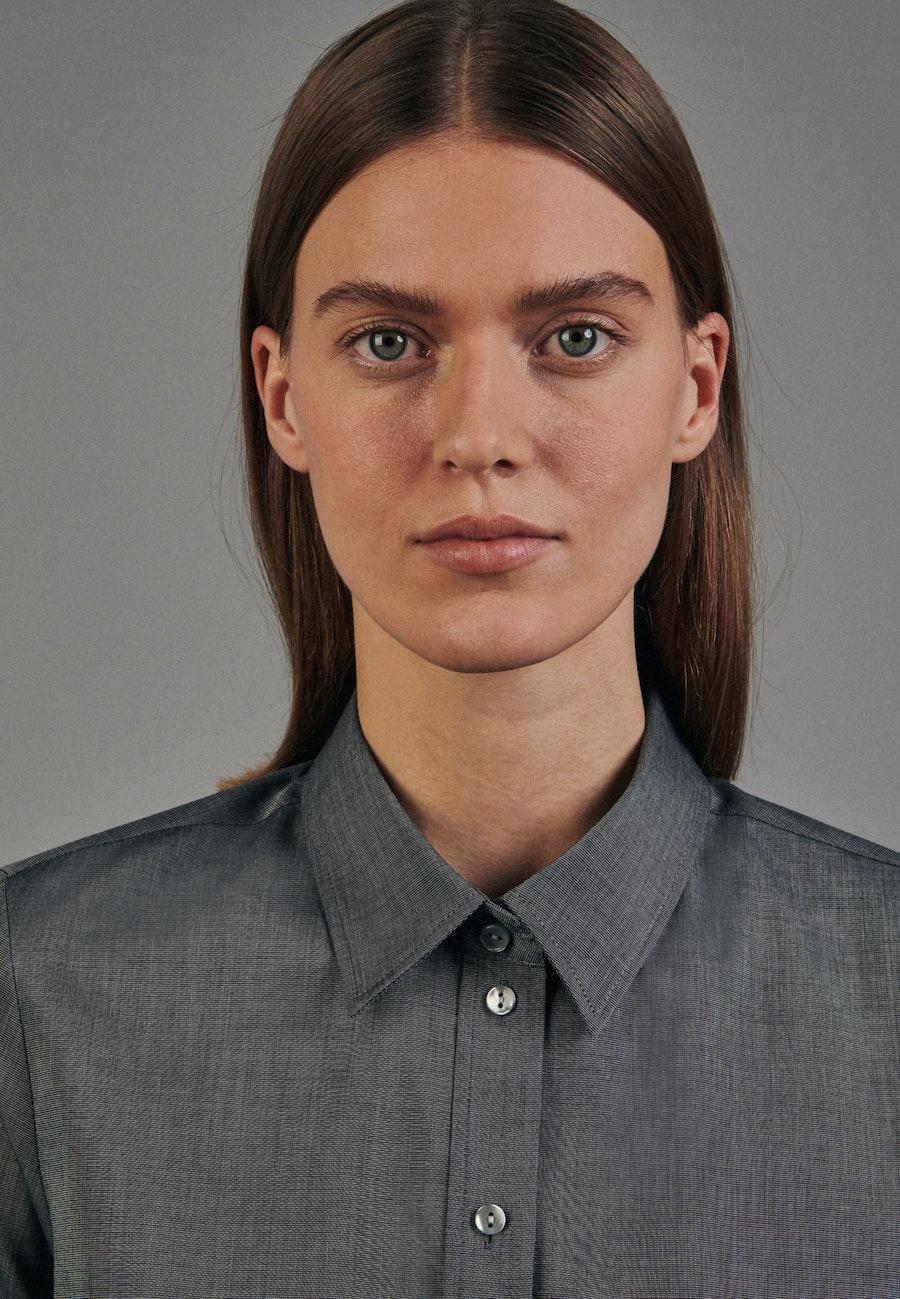 Bügelfreie Fil a fil Hemdbluse aus 100% Baumwolle in Grau |  Seidensticker Onlineshop