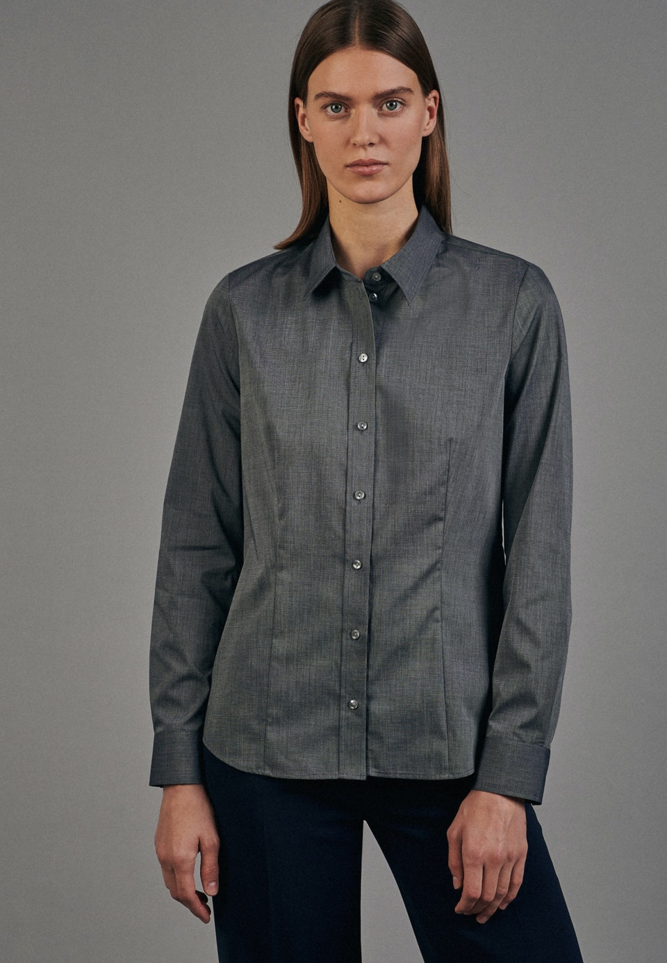 Non-iron Fil a fil Shirt Blouse made of 100% Cotton in Grey |  Seidensticker Onlineshop