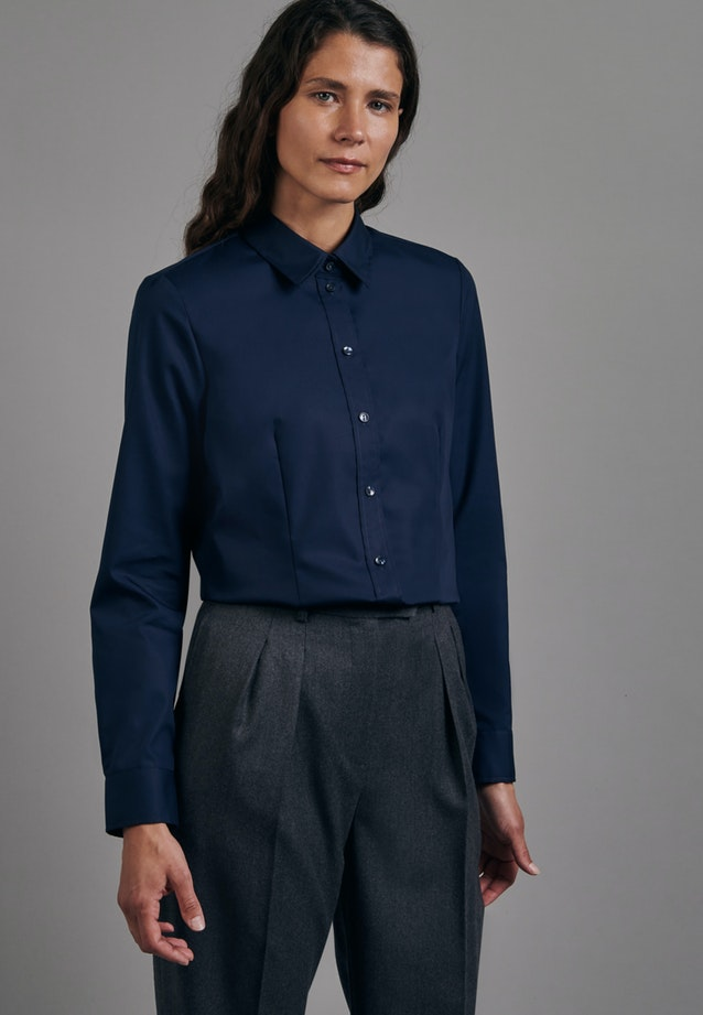 Non-iron Fil a fil Shirt Blouse made of 100% Cotton in Dark blue |  Seidensticker Onlineshop
