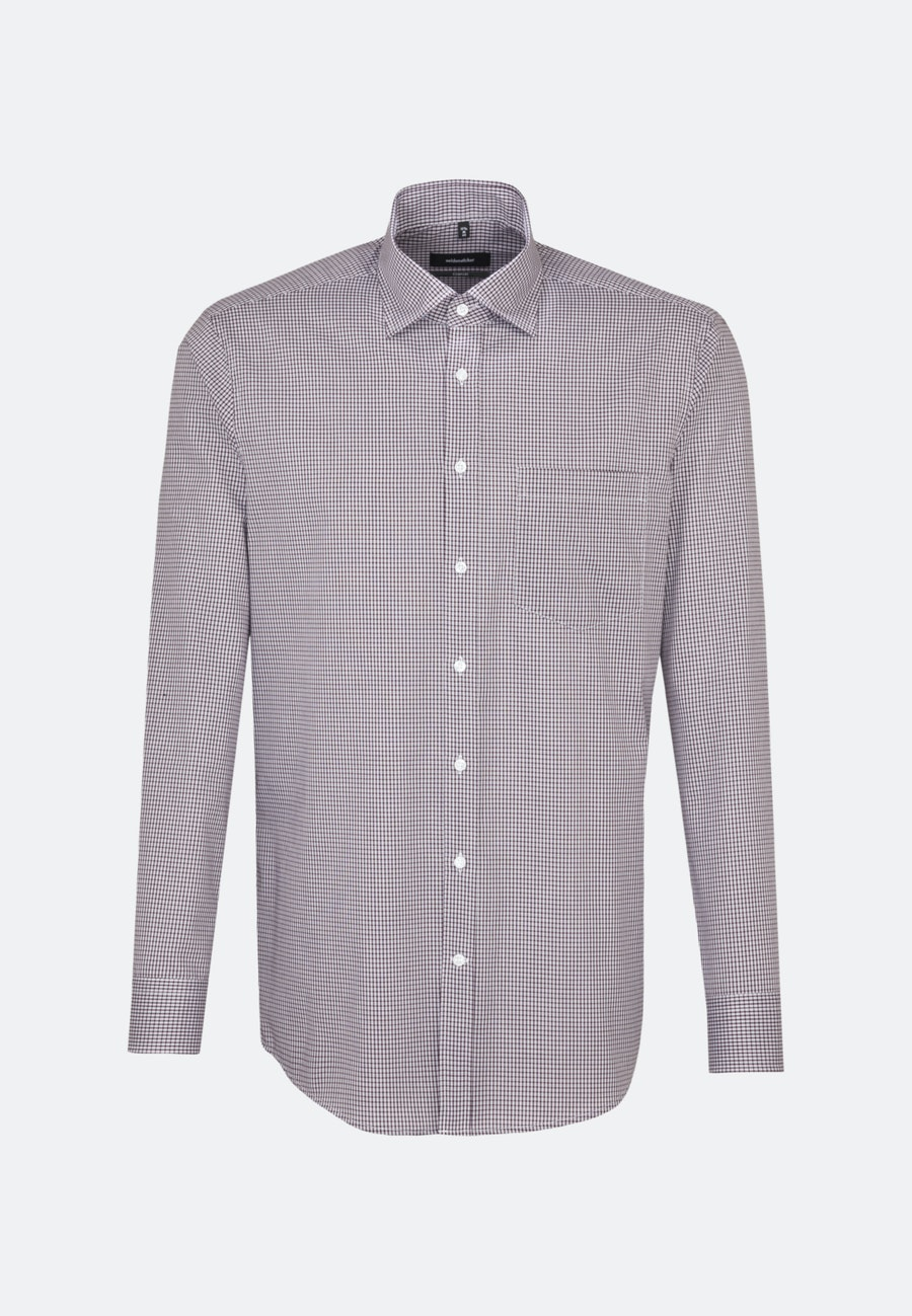 Non-iron Poplin Business Shirt in Comfort with Covered-Button-Down-Collar in Red |  Seidensticker Onlineshop