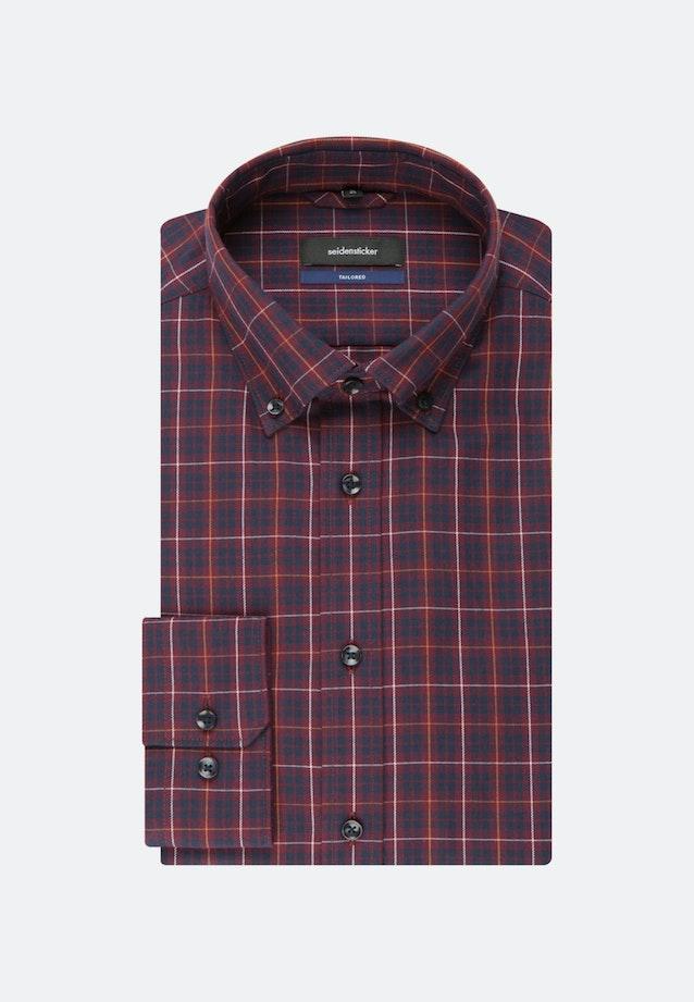 Bügelleichtes Twill Business Hemd in Shaped mit Button-Down-Kragen in Rot    Seidensticker Onlineshop
