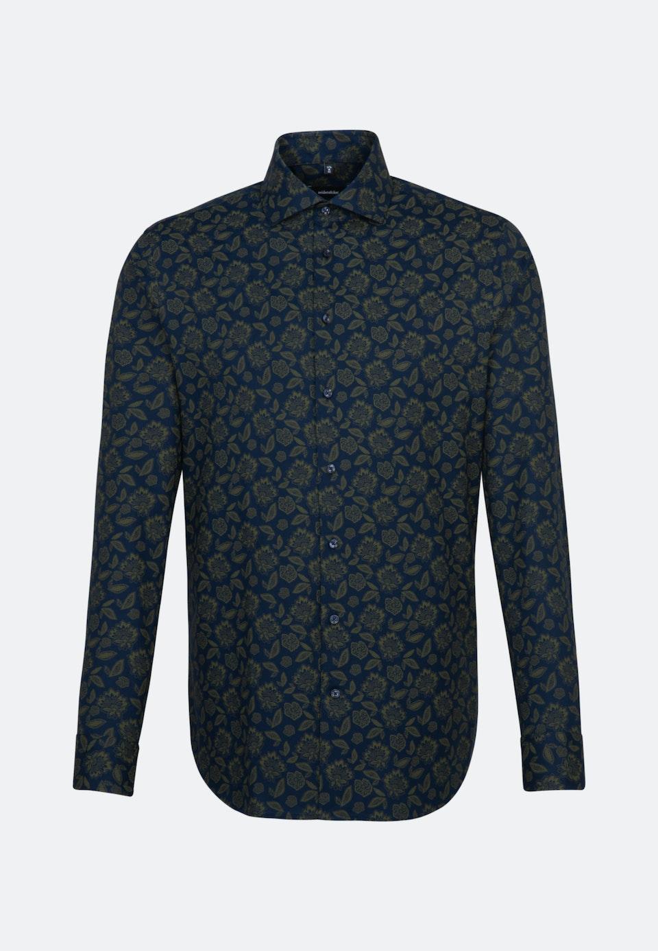 Bügelleichtes Twill Business Hemd in Shaped mit Kentkragen in Grün |  Seidensticker Onlineshop