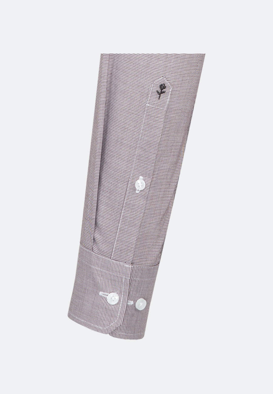 Bügelfreies Pepita Business Hemd in Slim mit Kentkragen in Rot    Seidensticker Onlineshop