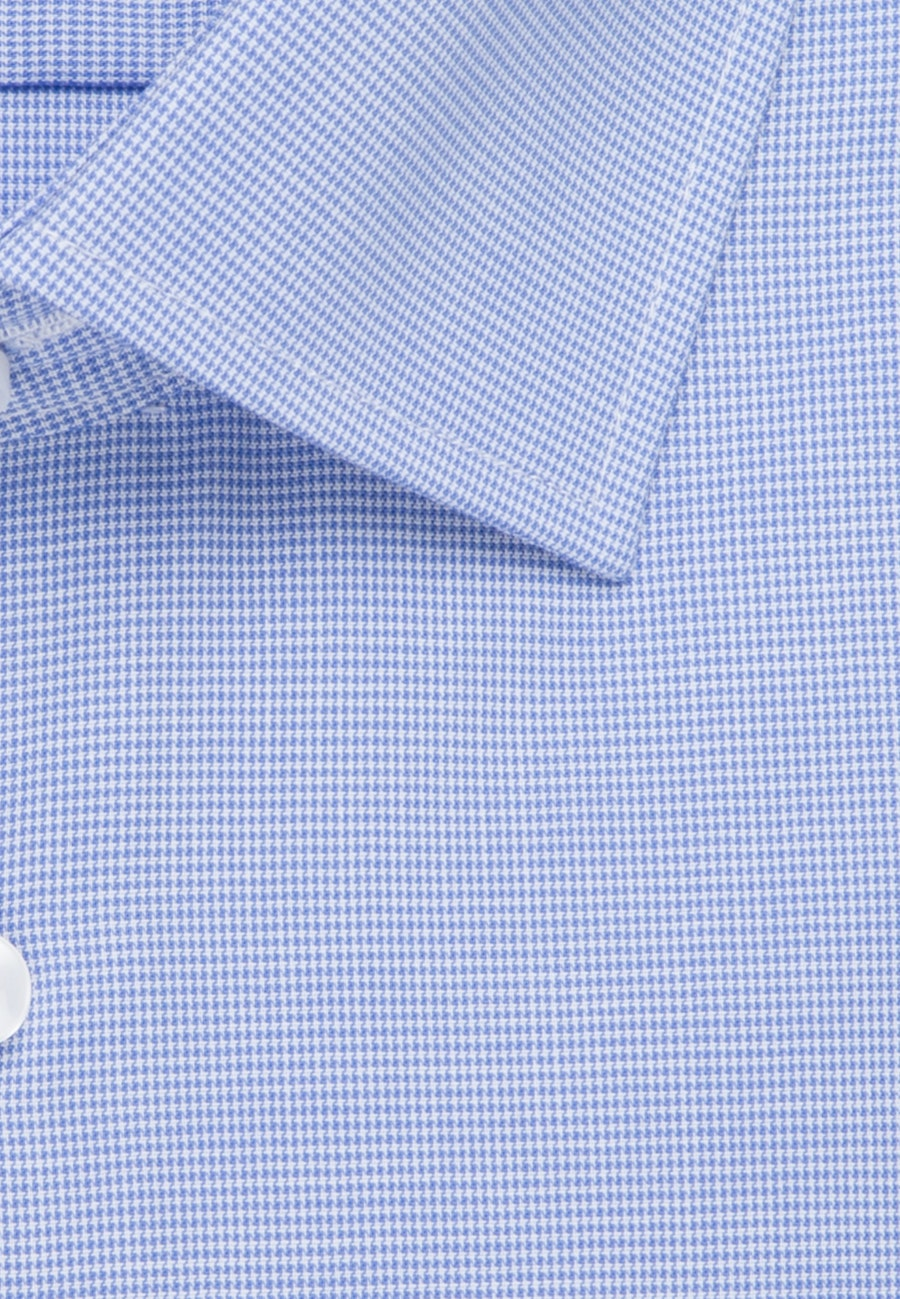 Non-iron Pepita/tooth-peg check Business Shirt in Slim with Kent-Collar in Light blue |  Seidensticker Onlineshop
