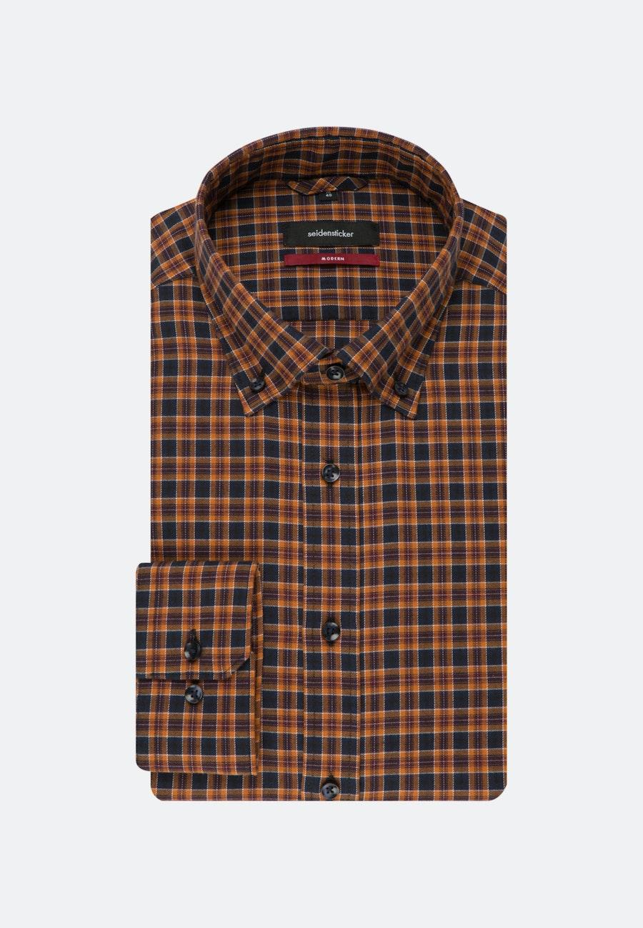 Easy-iron Twill Business Shirt in Regular with Button-Down-Collar in Orange    Seidensticker Onlineshop
