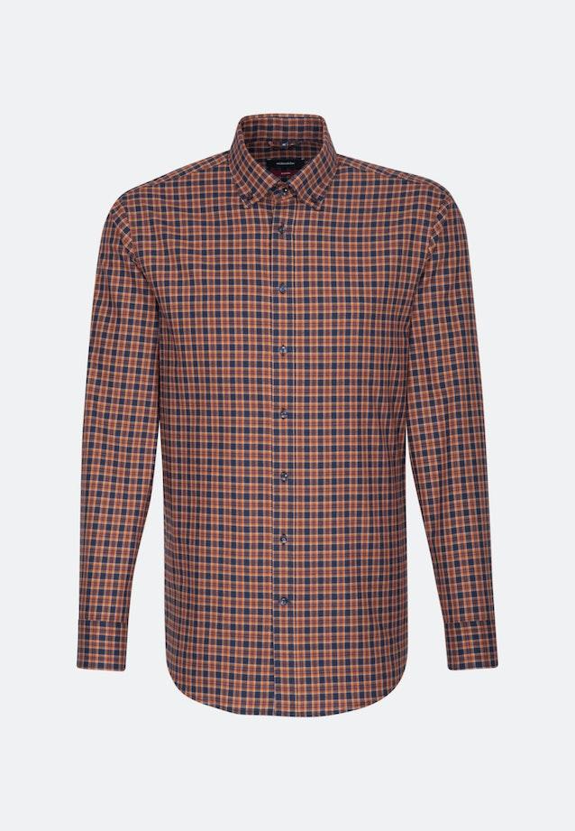 Bügelleichtes Twill Business Hemd in Regular mit Button-Down-Kragen in Orange    Seidensticker Onlineshop