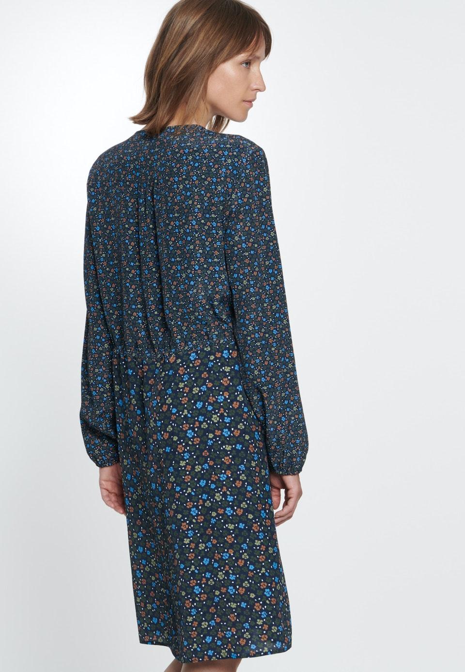 Damen Chiffon Midi Kleid aus 100% Viskose dunkelblau 60 ...