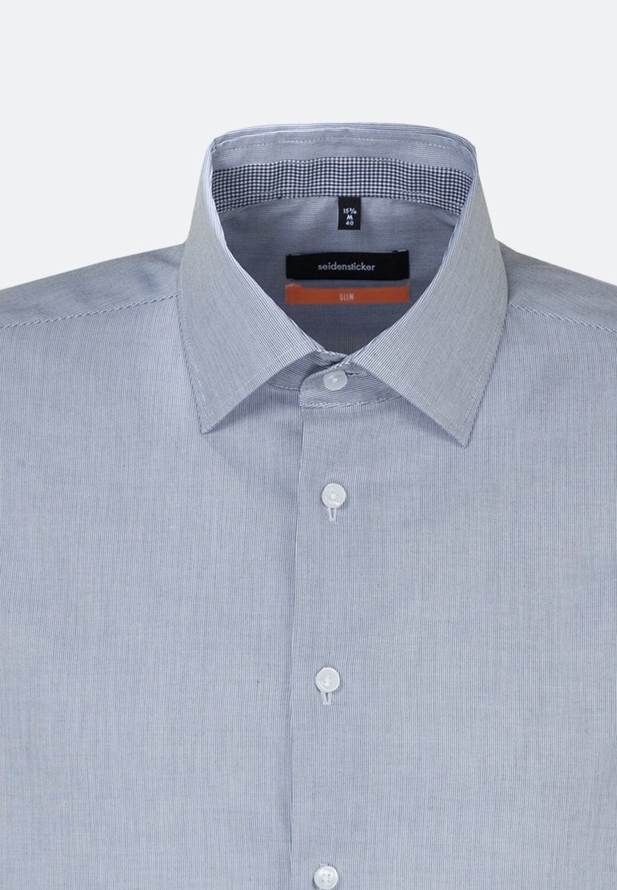 Non-iron Popeline Business Shirt in Slim with Kent-Collar and extra long sleeve in Dark blue |  Seidensticker Onlineshop