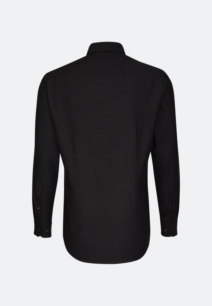 Bügelleichtes Twill Business Hemd in Slim mit Button-Down-Kragen in Schwarz |  Seidensticker Onlineshop