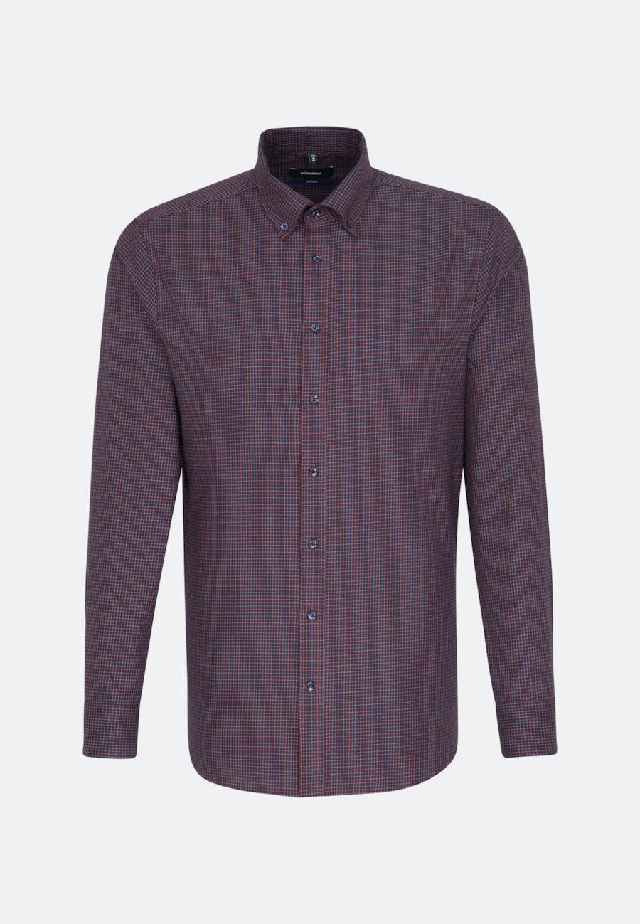 Bügelleichtes Twill Business Hemd in Shaped mit Button-Down-Kragen in Rot |  Seidensticker Onlineshop