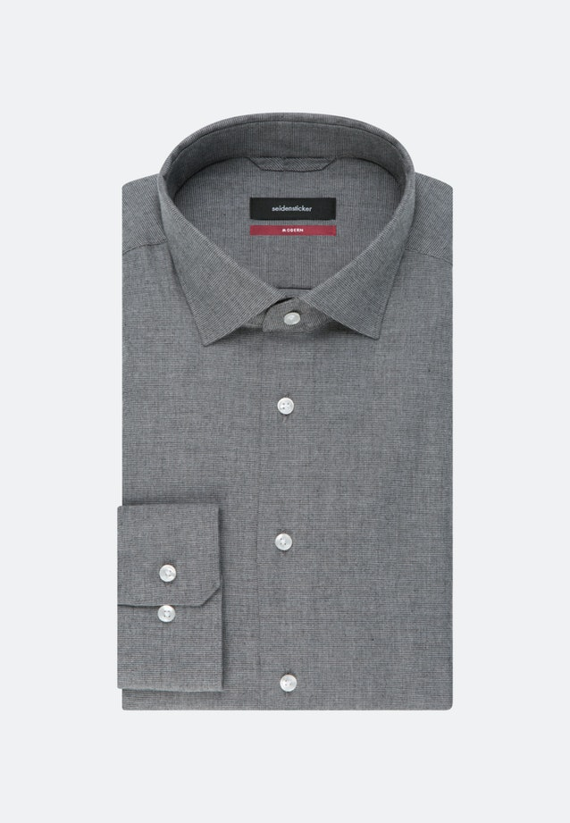 Easy-iron Structure Business Shirt in Regular with Kent-Collar in Grey    Seidensticker Onlineshop