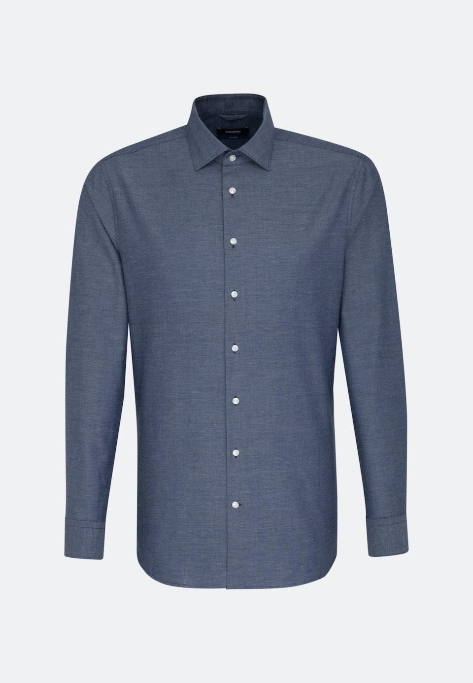 Easy-iron Structure Business Shirt in Shaped with Kent-Collar in Dark blue |  Seidensticker Onlineshop