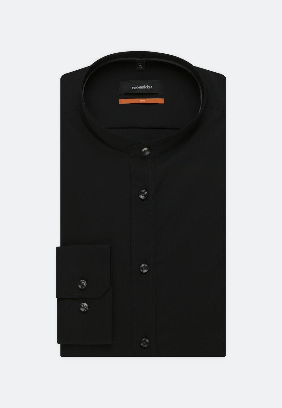 Bügelleichtes Popeline Business Hemd in Slim mit Stehkragen in Schwarz |  Seidensticker Onlineshop