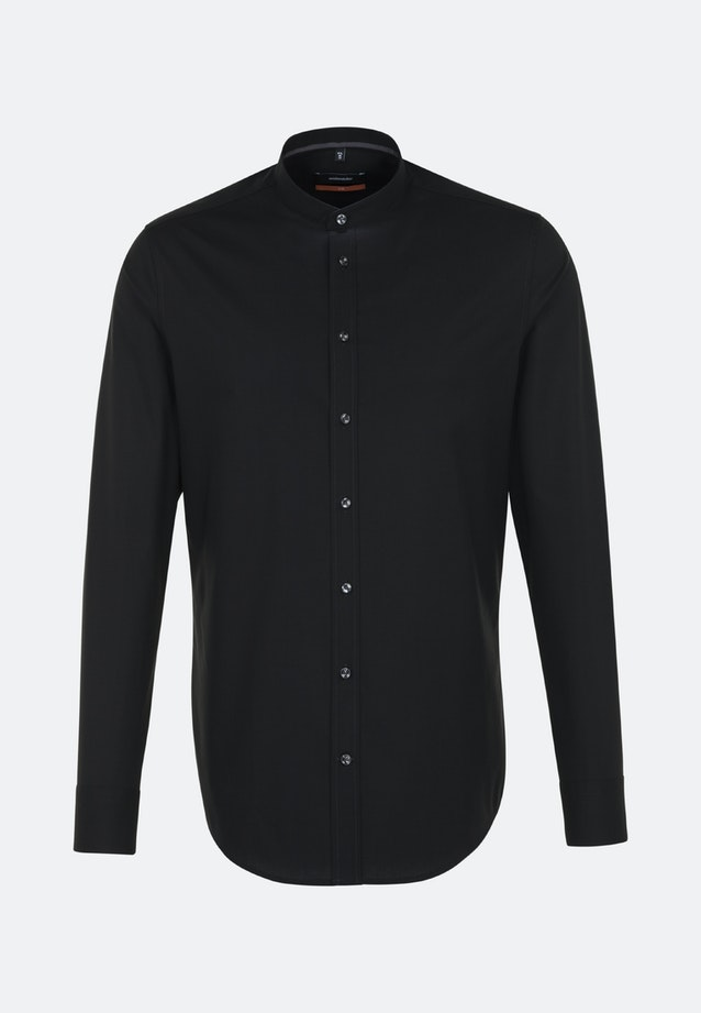 Easy-iron Popeline Business Shirt in Slim with Stand-Up Collar in Black |  Seidensticker Onlineshop