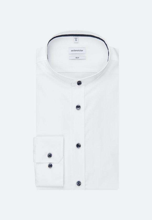 Bügelleichtes Popeline Business Hemd in Slim mit Stehkragen in Weiß    Seidensticker Onlineshop