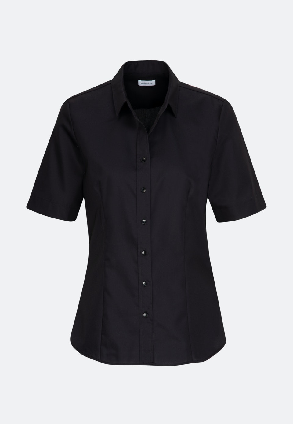 Bügelfreie Kurzarm Fil a fil Hemdbluse aus 100% Baumwolle in Schwarz |  Seidensticker Onlineshop