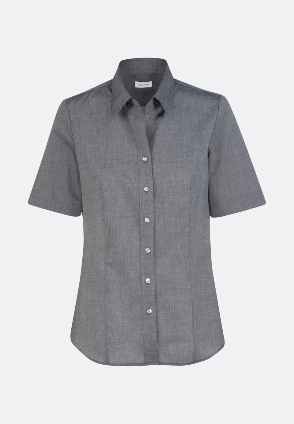 Non-iron Short sleeve Fil a fil Shirt Blouse made of 100% Cotton in Grey    Seidensticker Onlineshop