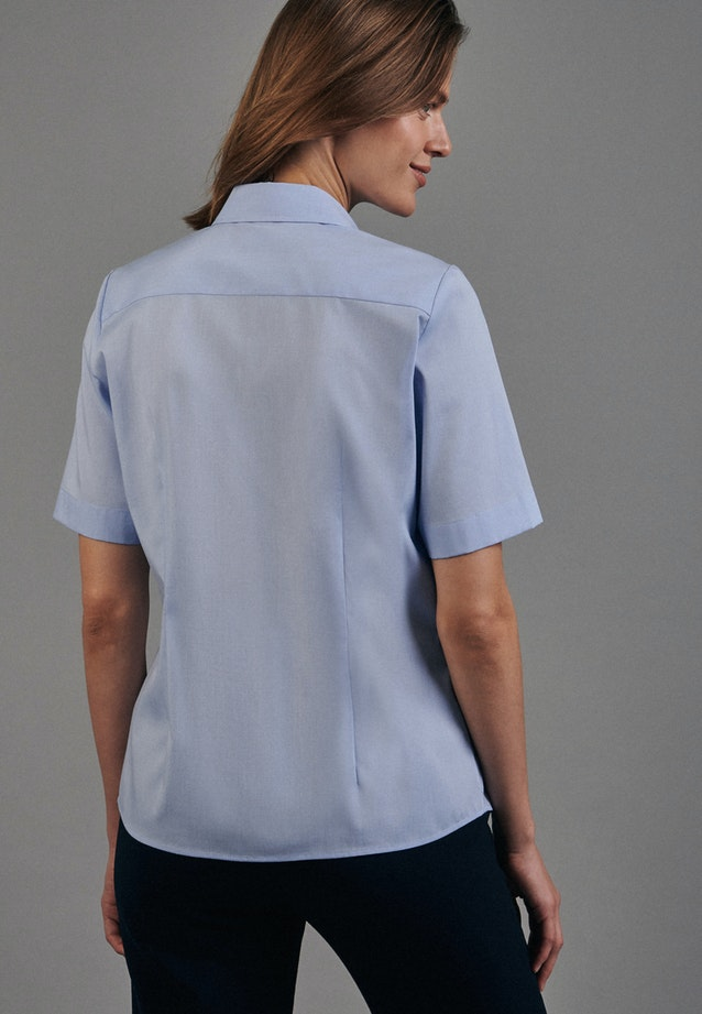 Non-iron Short sleeve Fil a fil Shirt Blouse made of 100% Cotton in Light blue |  Seidensticker Onlineshop