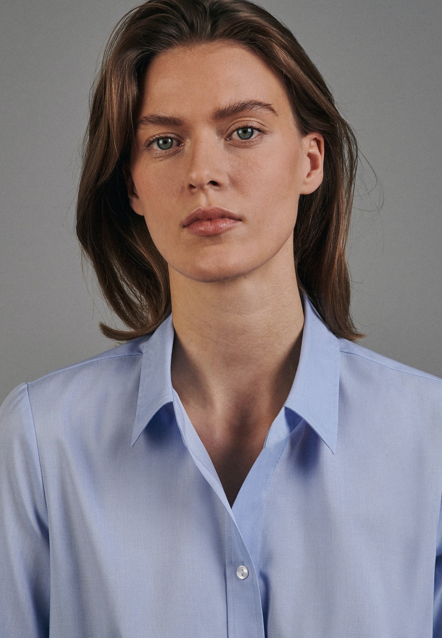Non-iron Short sleeve Fil a fil Shirt Blouse made of 100% Cotton in Light blue |  Seidensticker Onlineshop
