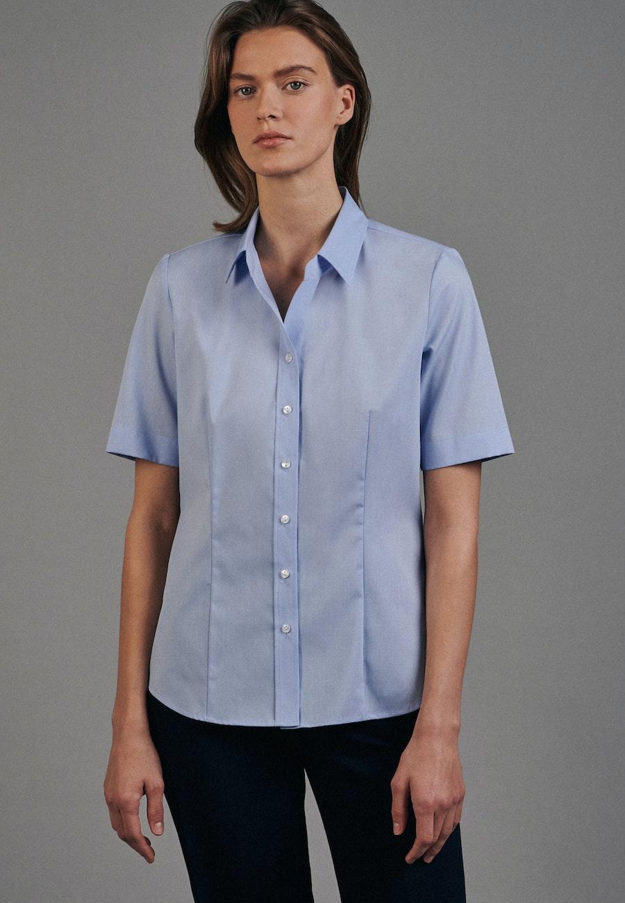 Non-iron Short sleeve Fil a fil Shirt Blouse made of 100% Cotton in Light blue    Seidensticker Onlineshop