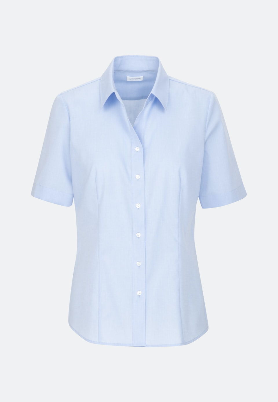 Bügelfreie Kurzarm Fil a fil Hemdbluse aus 100% Baumwolle in Hellblau |  Seidensticker Onlineshop