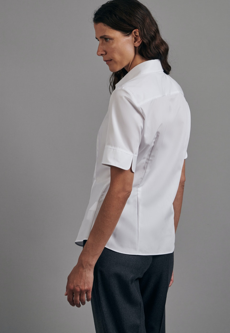 Non-iron Short sleeve Fil a fil Shirt Blouse made of 100% Cotton in White    Seidensticker Onlineshop
