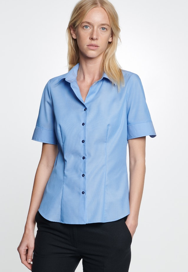 Non-iron Short sleeve Fil a fil Shirt Blouse made of 100% Cotton in Medium blue |  Seidensticker Onlineshop