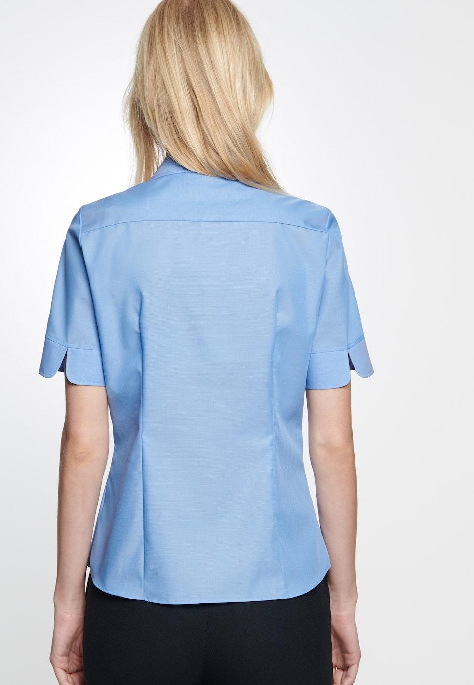 Non-iron Short sleeve Fil a fil Shirt Blouse made of 100% Cotton in Medium blue    Seidensticker Onlineshop