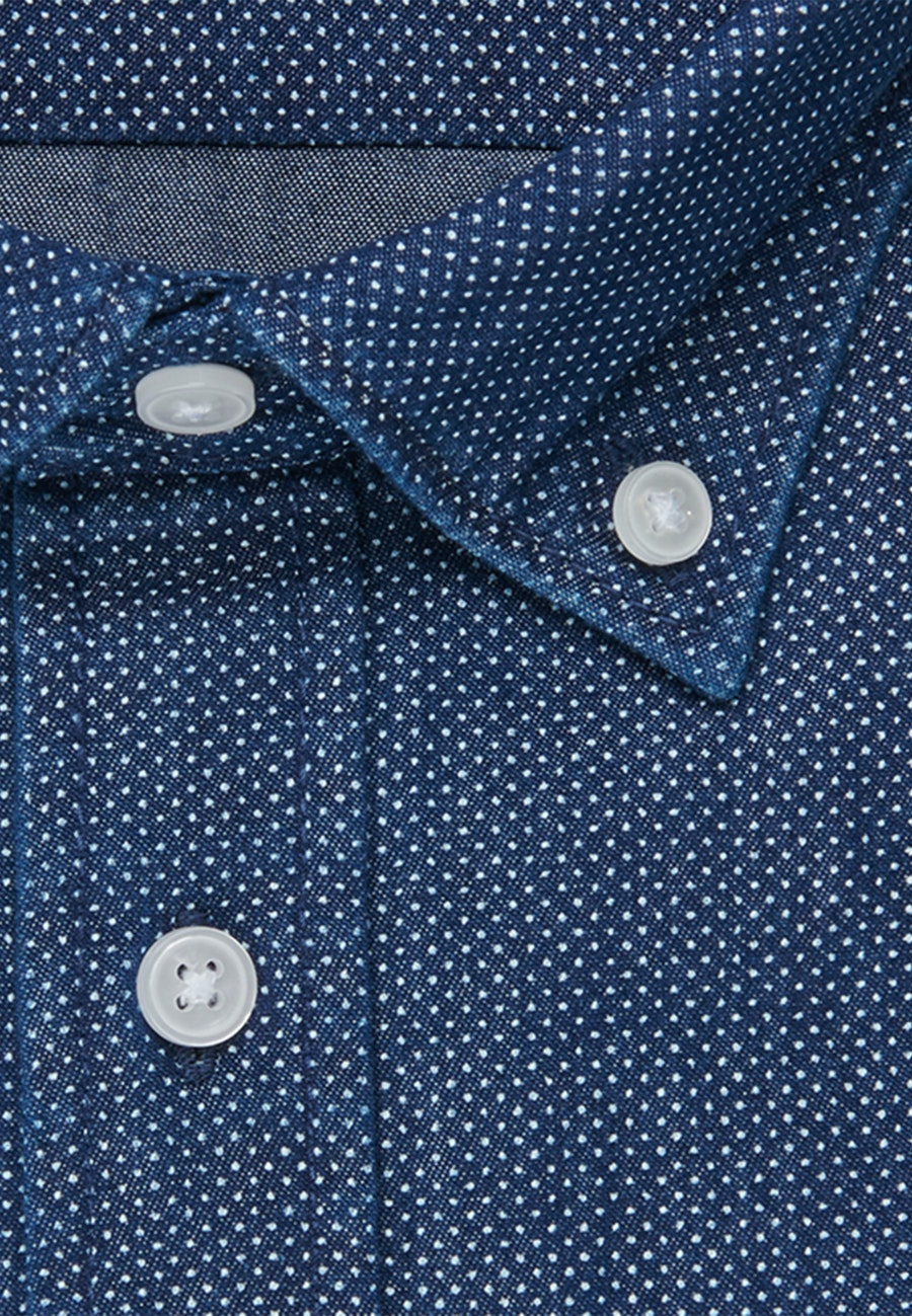 Easy-iron Twill Business Shirt in Slim with Button-Down-Collar in Dark blue |  Seidensticker Onlineshop
