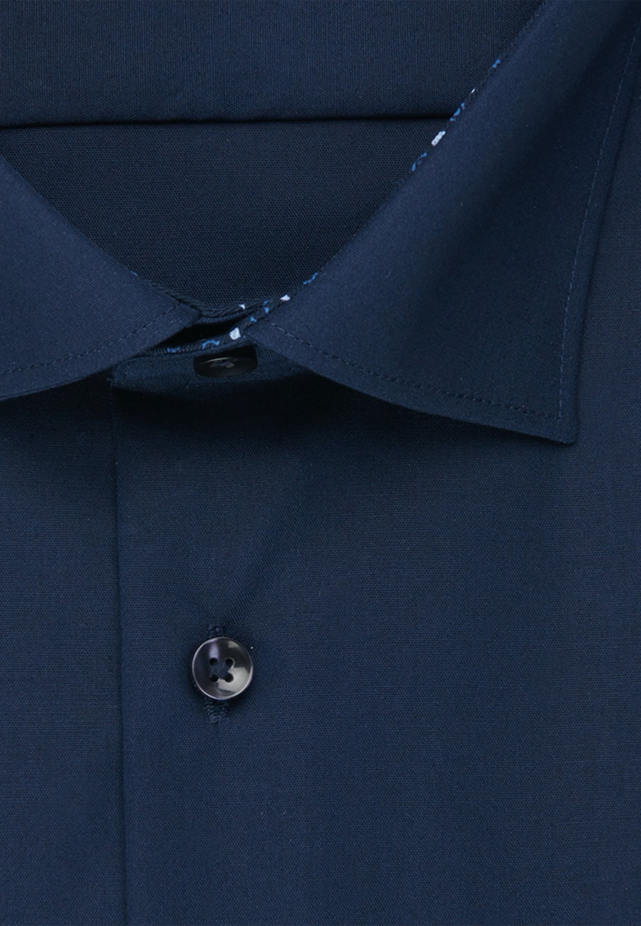 Non-iron Popeline Business Shirt in Regular with Kent-Collar in Dark blue |  Seidensticker Onlineshop