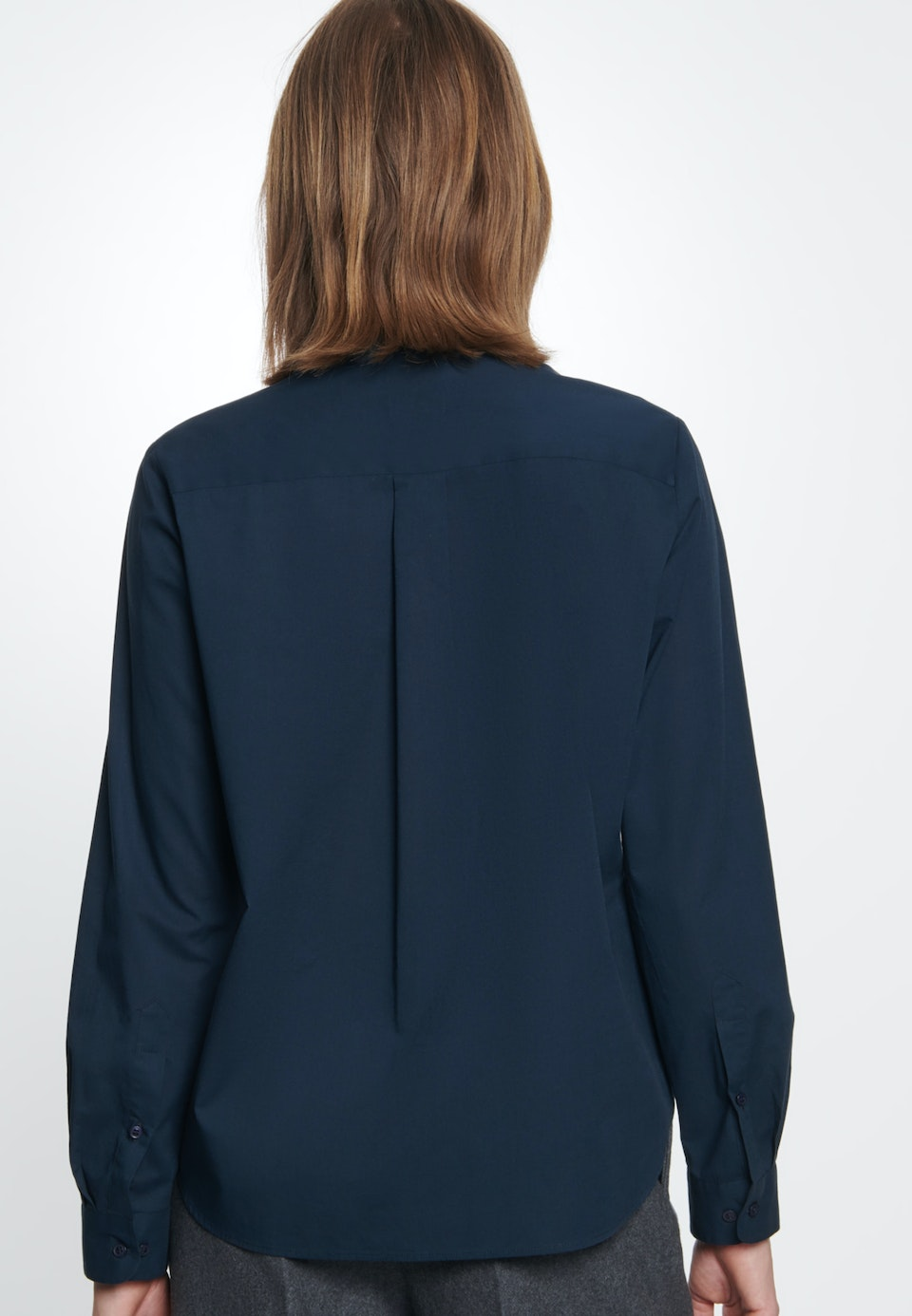 Voile Tie-Neck Blouse made of 100% Cotton in Dark blue |  Seidensticker Onlineshop