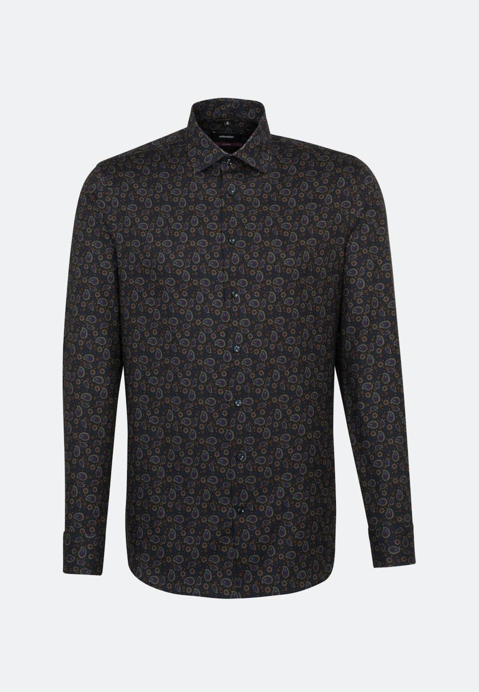 Bügelleichtes Twill Business Hemd in Regular mit Kentkragen in Grau    Seidensticker Onlineshop