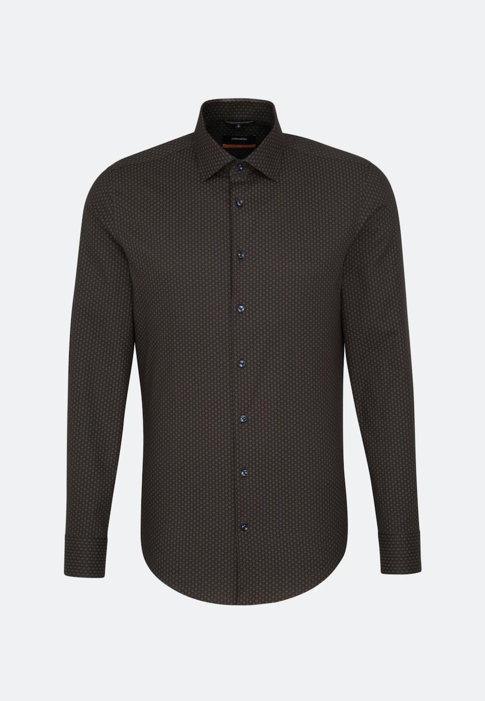 Easy-iron Twill Business Shirt in Slim with Kent-Collar in Grey    Seidensticker Onlineshop