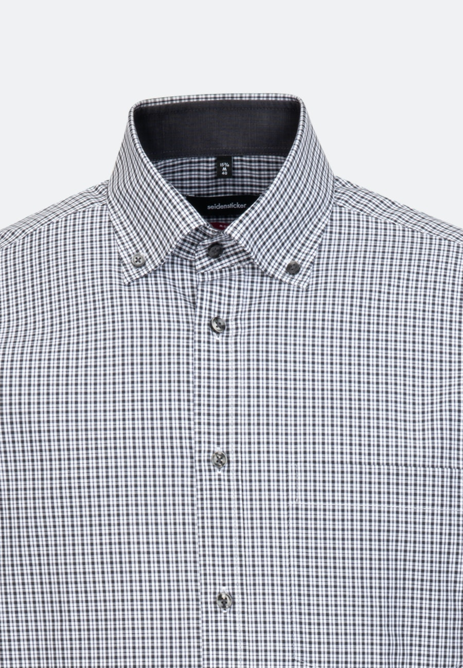 Bügelfreies Popeline Business Hemd in Regular mit Button-Down-Kragen in Grau |  Seidensticker Onlineshop