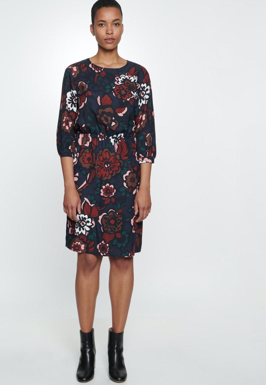Twill Midi Kleid aus 100% Viskose in Dunkelblau |  Seidensticker Onlineshop