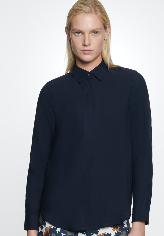 Twill Shirt Blouse made of tencel blend in Dark blue |  Seidensticker Onlineshop