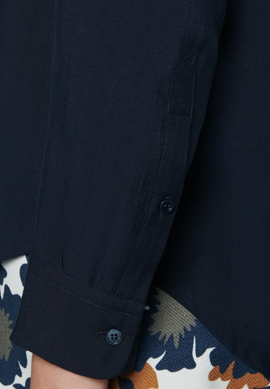 Twill Hemdbluse aus Tencelmischung in Dunkelblau |  Seidensticker Onlineshop