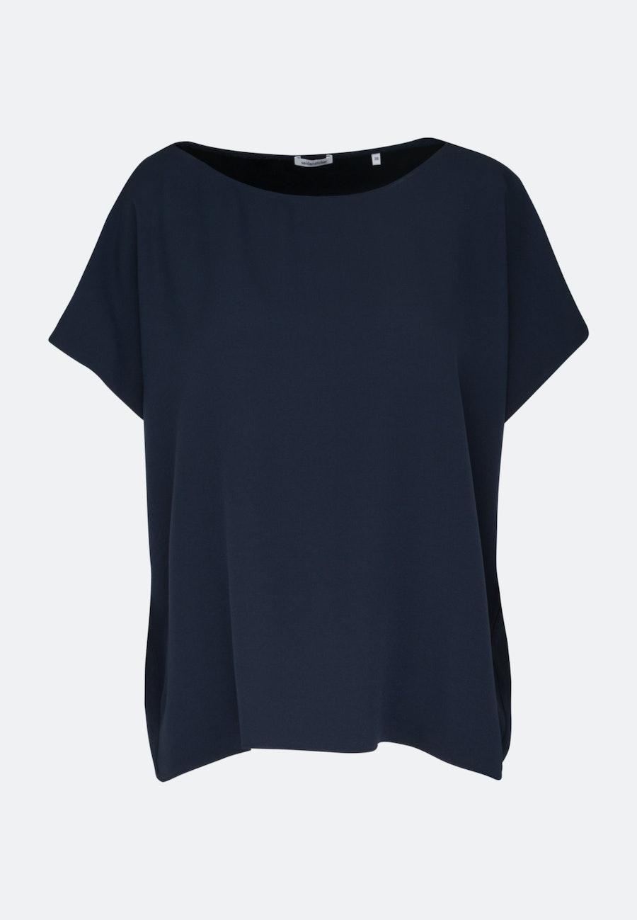Kurzarm Krepp Shirtbluse aus Rayonmischung in Dunkelblau    Seidensticker Onlineshop