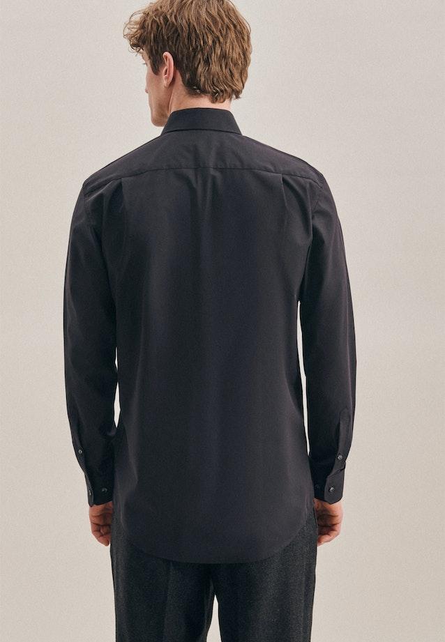Non-iron Poplin Business Shirt in Regular with Kent-Collar in Black    Seidensticker Onlineshop