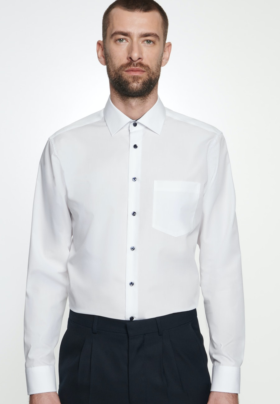 Non-iron Popeline Business Shirt in Regular with Kent-Collar in White |  Seidensticker Onlineshop