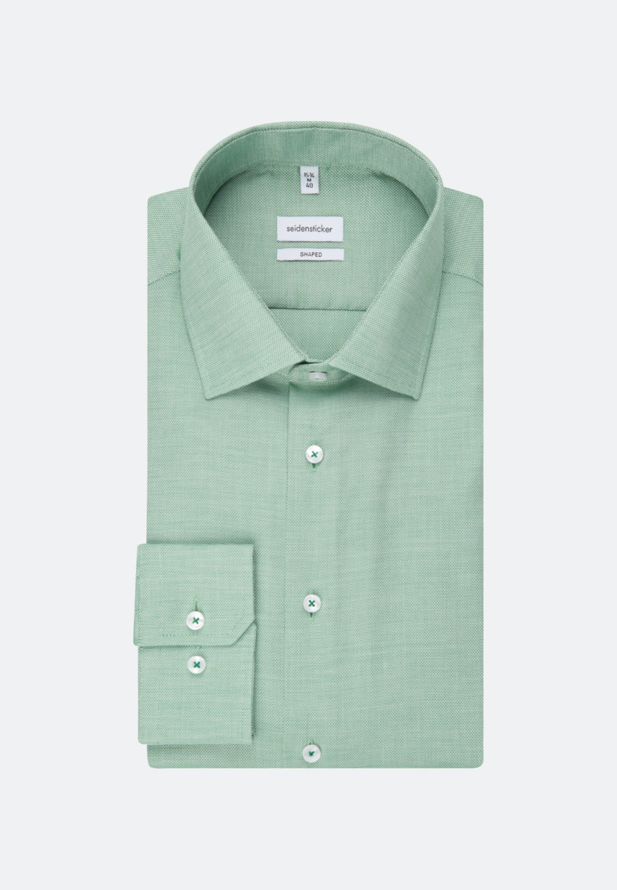 Non-iron Struktur Business Shirt in Shaped with Kent-Collar in Green |  Seidensticker Onlineshop