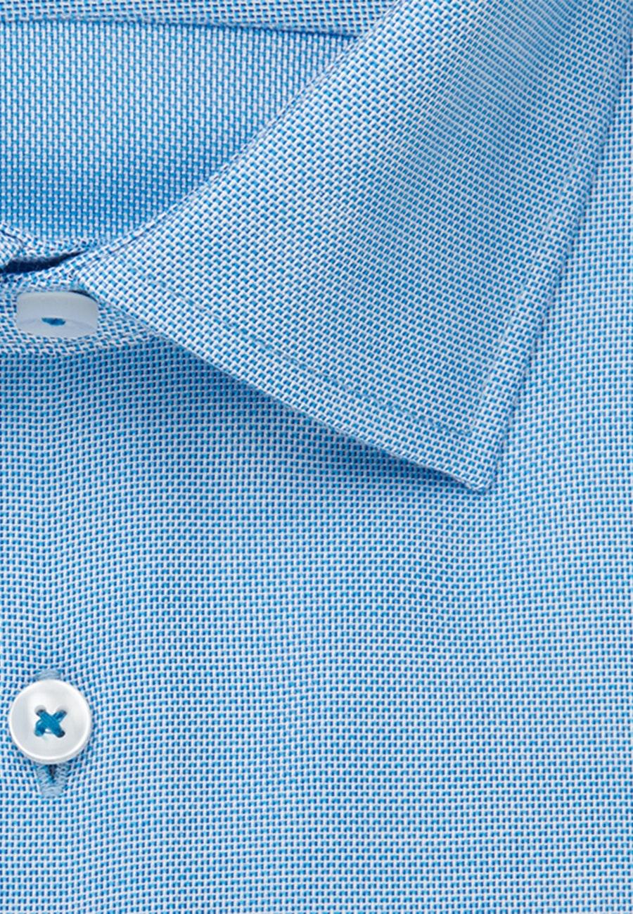 Bügelfreies Struktur Business Hemd in Shaped mit Kentkragen in Türkis/Petrol |  Seidensticker Onlineshop