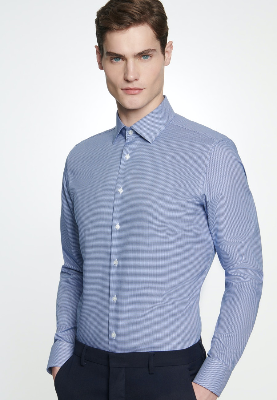 Easy-iron Pepita Business Shirt in Slim with Kent-Collar in Medium blue |  Seidensticker Onlineshop