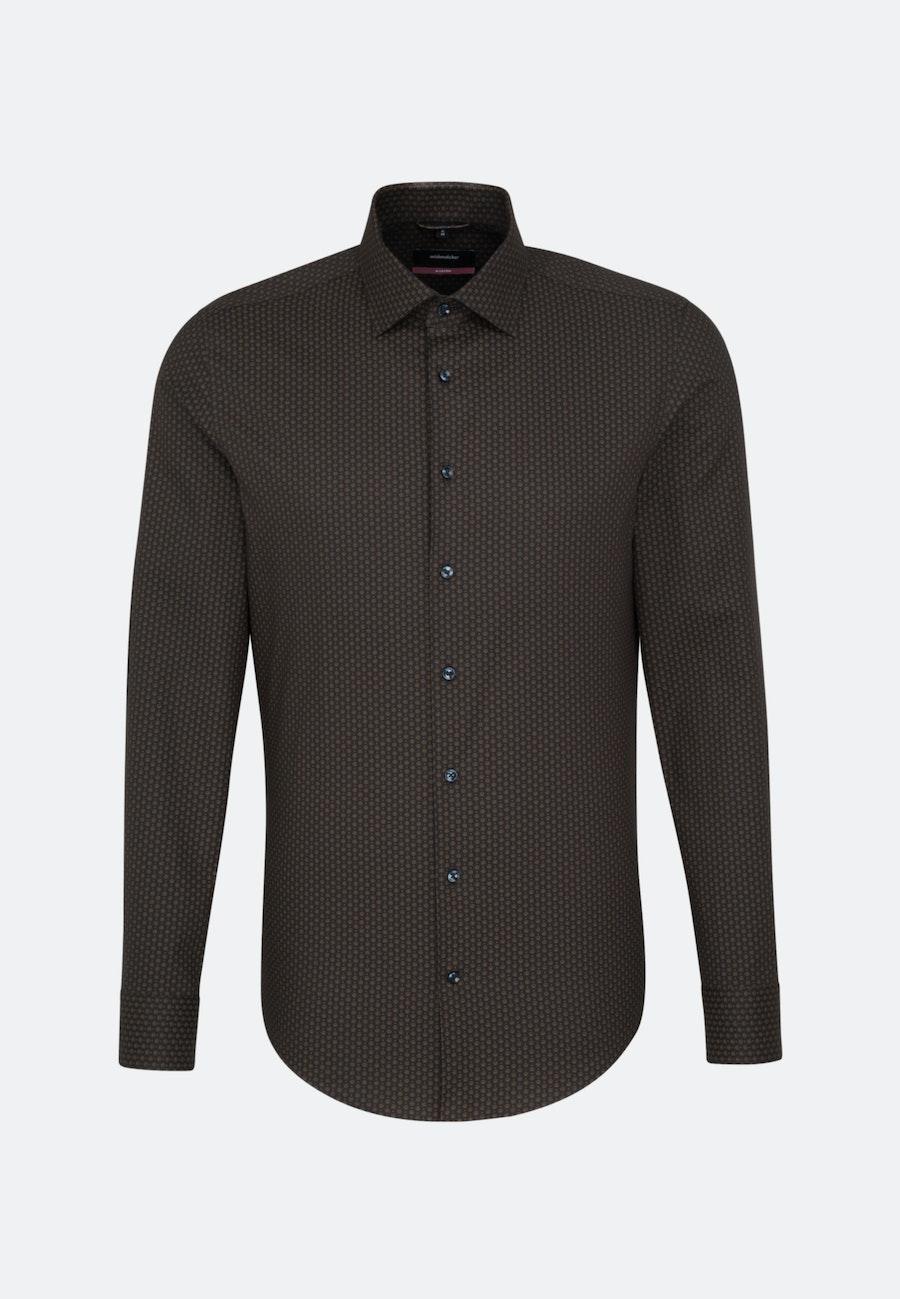 Easy-iron Twill Business Shirt in Regular with Kent-Collar in Brown    Seidensticker Onlineshop